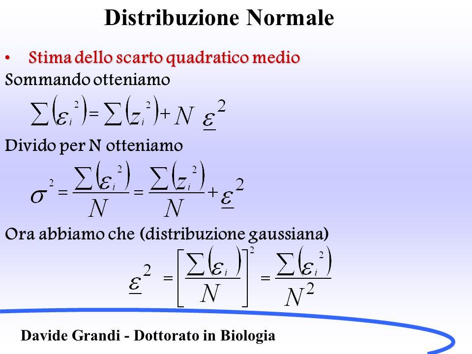 Distribuzione Normale Davide Grandi - Dottorato in Biologia Stima dello scarto quadratico medioStima dello scarto quadratico medio Sommando otteniamo