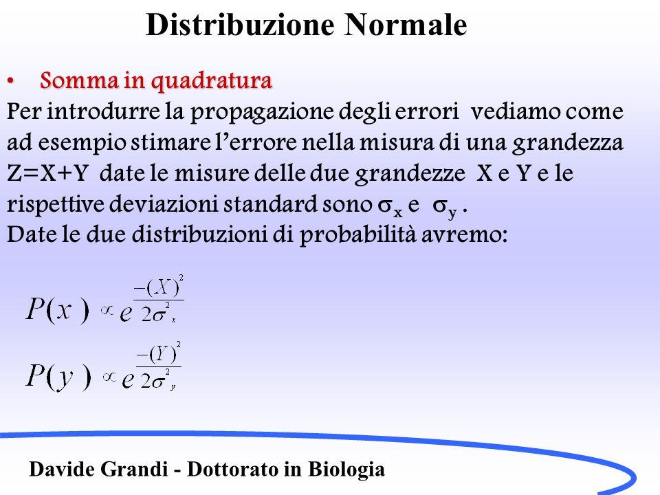 Distribuzione Normale Davide Grandi - Dottorato in Biologia Somma in quadraturaSomma in quadratura Per introdurre la propagazione degli errori vediamo