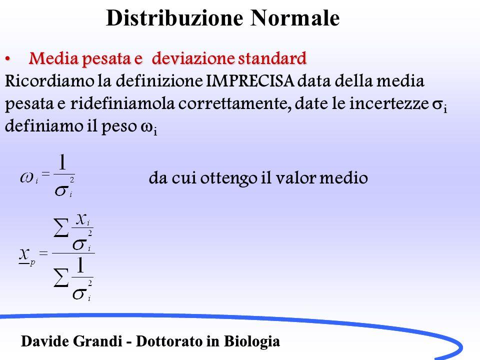 Distribuzione Normale Davide Grandi - Dottorato in Biologia Media pesata e deviazione standardMedia pesata e deviazione standard Ricordiamo la definiz
