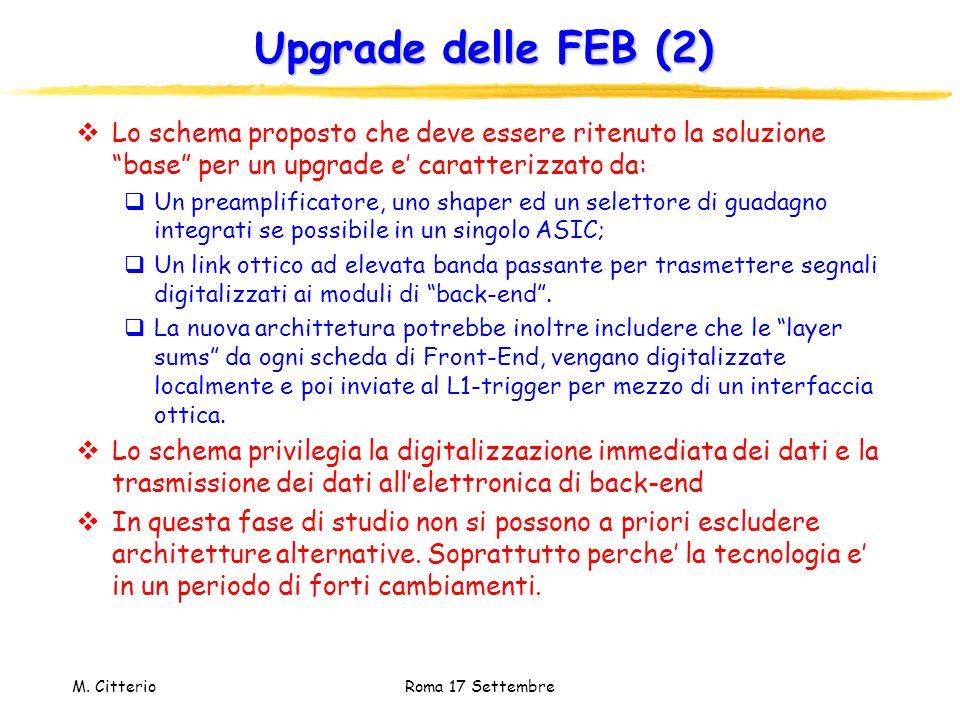 M. Citterio Roma 17 Settembre Upgrade delle FEB (2) Lo schema proposto che deve essere ritenuto la soluzione base per un upgrade e caratterizzato da: