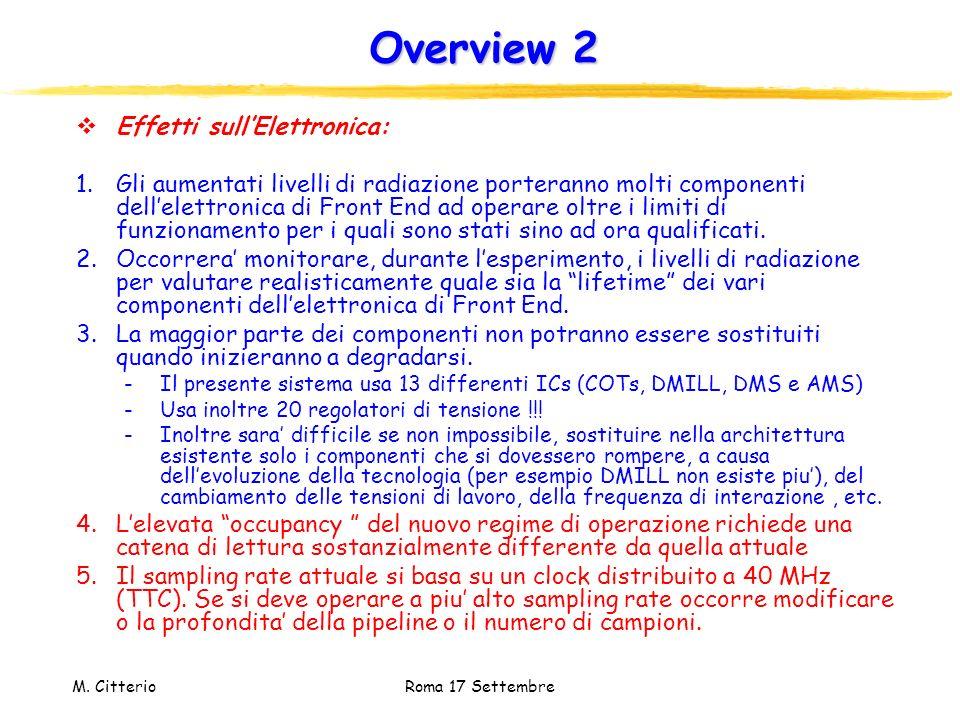 M. Citterio Roma 17 Settembre Overview 2 Effetti sullElettronica: 1.Gli aumentati livelli di radiazione porteranno molti componenti dellelettronica di