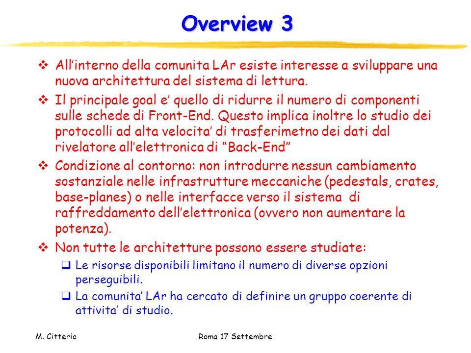 M. Citterio Roma 17 Settembre Overview 3 Allinterno della comunita LAr esiste interesse a sviluppare una nuova architettura del sistema di lettura. Il