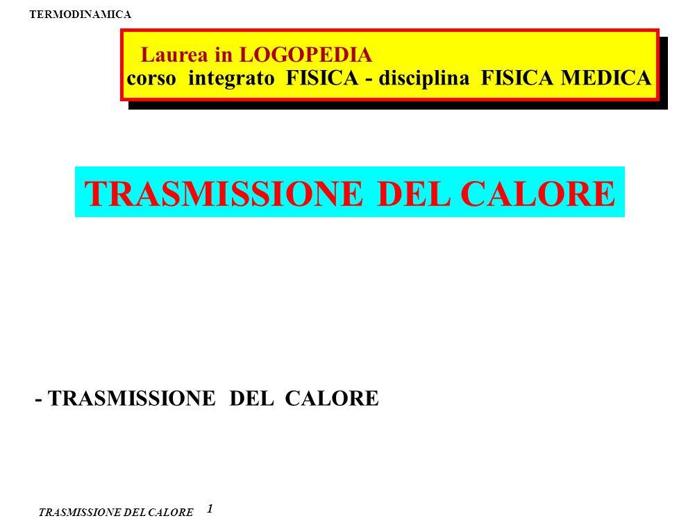 TRASMISSIONE DEL CALORE TRASMISSIONE del CALORE 1 2 meccanismi di trasmissione del calore convezione PROPAGAZIONE MEDIANTE TRASPORTO DI MATERIA conduzione PROPAGAZIONE SENZA TRASPORTO DI MATERIA irraggiamento (RADIAZIONE TERMICA) EMISSIONE DI ONDE ELETTROMAGNETICHE evaporazione (sistemi biologici)