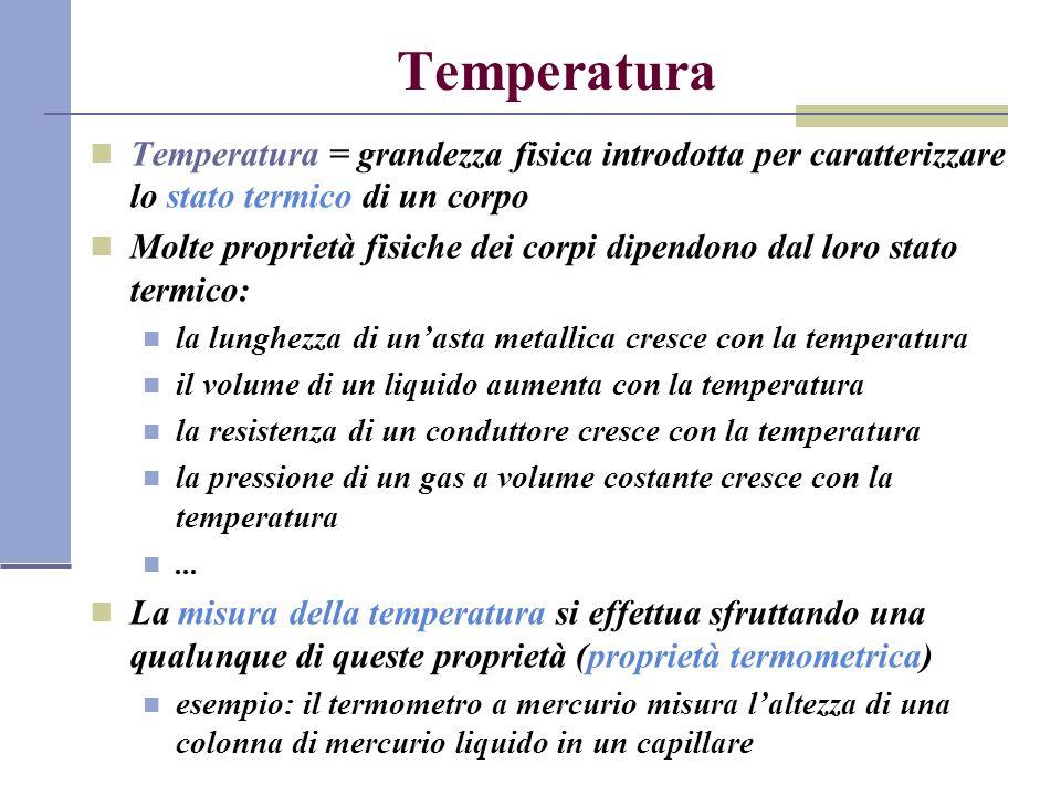 Principio zero della termodinamica Equilibrio termico: quando due corpi sono posti a contatto, dopo un certo tempo raggiungono la stessa temperatura Termoscopio = strumento che misura una proprietà termica e fornisce un numero correlato al valore di tale proprietà termica (e quindi alla temperatura) Principio zero: se due corpi A e B si trovano in equilibrio termico con un terzo corpo T, allora sono anche in equilibrio termico fra loro