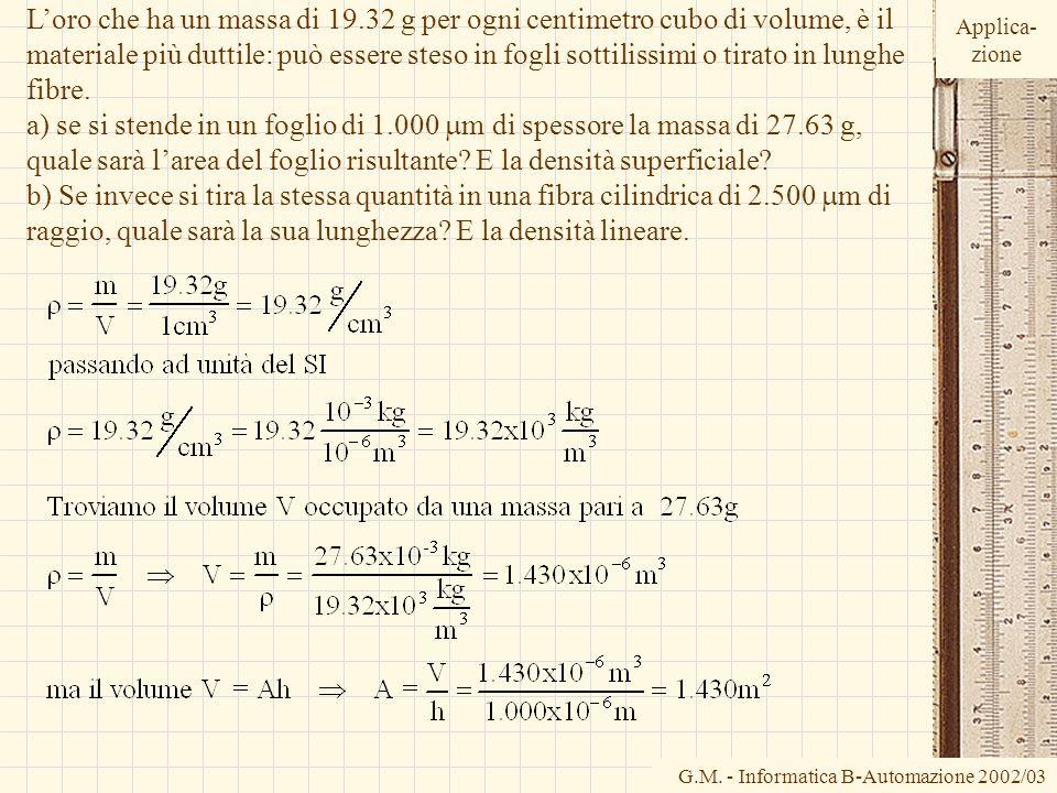 G.M. - Informatica B-Automazione 2002/03 Loro che ha un massa di 19.32 g per ogni centimetro cubo di volume, è il materiale più duttile: può essere st