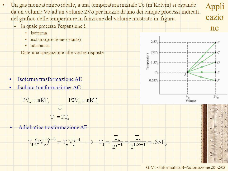G.M. - Informatica B-Automazione 2002/03 Appli cazio ne Un gas monoatomico ideale, a una temperatura iniziale To (in Kelvin) si espande da un volume V