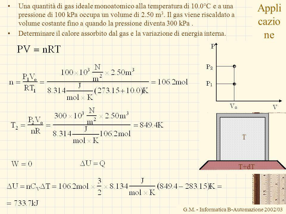 G.M. - Informatica B-Automazione 2002/03 Appli cazio ne Una quantità di gas ideale monoatomico alla temperatura di 10.0°C e a una pressione di 100 kPa