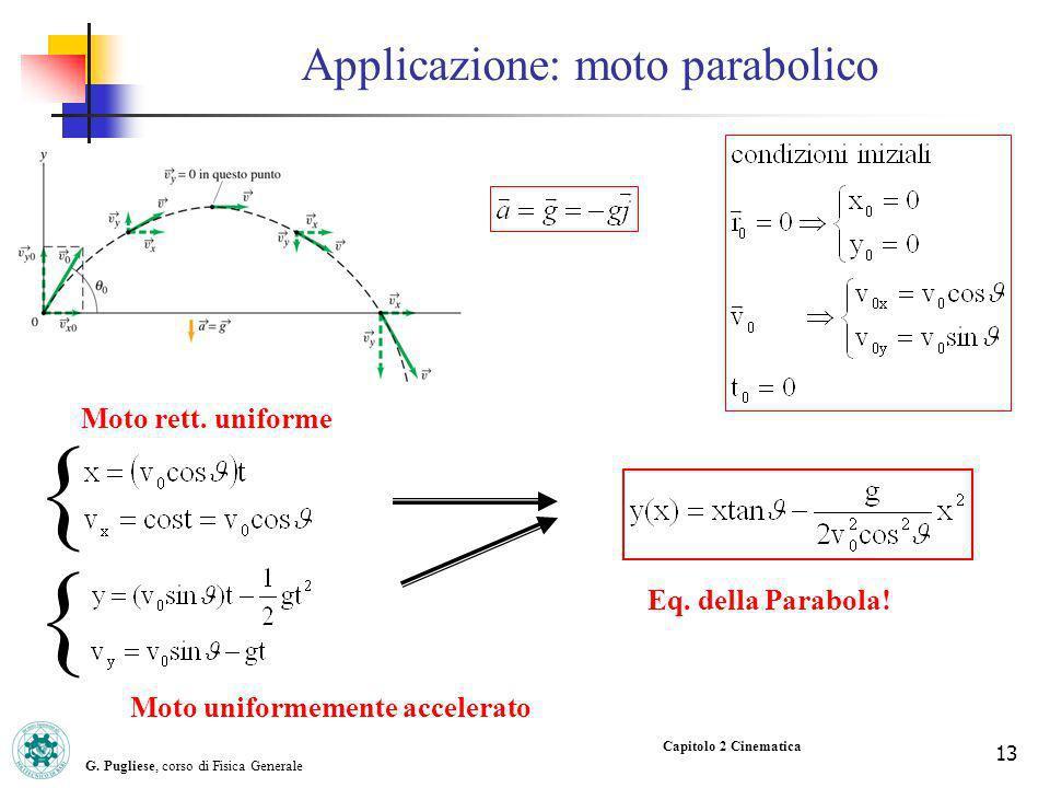 G. Pugliese, corso di Fisica Generale 13 Capitolo 2 Cinematica Eq. della Parabola! Applicazione: moto parabolico Moto rett. uniforme Moto uniformement