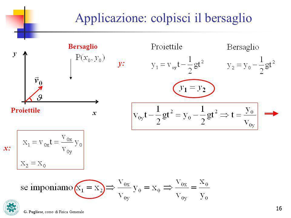 G. Pugliese, corso di Fisica Generale 16 Applicazione: colpisci il bersaglio Bersaglio Proiettile x y y: x: