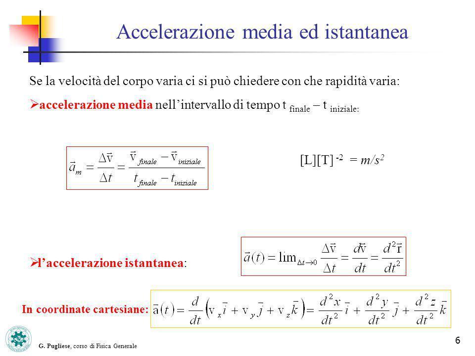 G. Pugliese, corso di Fisica Generale 6 Accelerazione media ed istantanea Se la velocità del corpo varia ci si può chiedere con che rapidità varia: ac