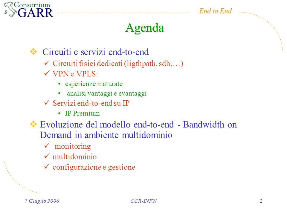 End to End 7 Giugno 2006CCR-INFN2 Agenda Circuiti e servizi end-to-end Circuiti fisici dedicati (ligthpath, sdh,…) VPN e VPLS: esperienze maturate analisi vantaggi e svantaggi Servizi end-to-end su IP IP Premium Evoluzione del modello end-to-end - Bandwidth on Demand in ambiente multidominio monitoring multidominio configurazione e gestione