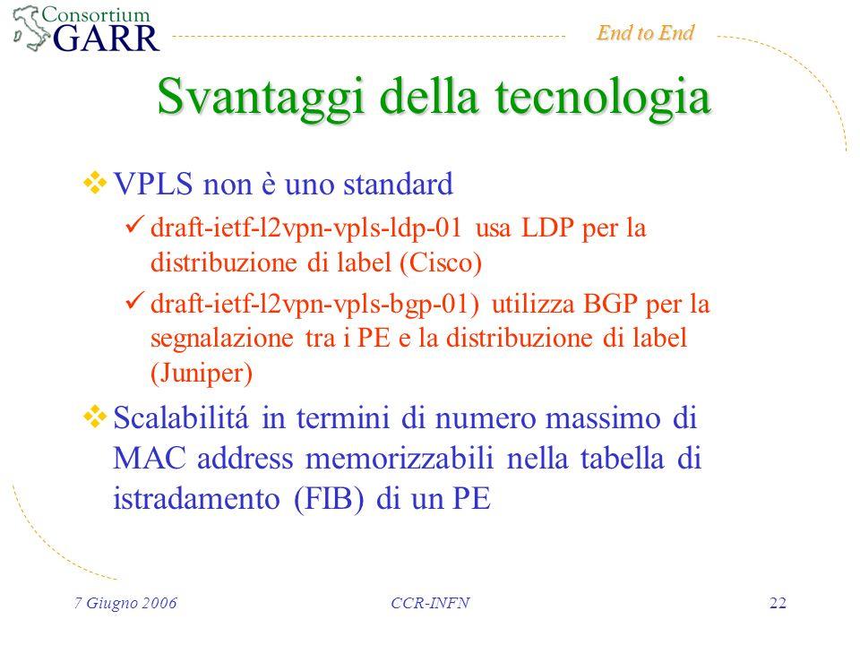 End to End 7 Giugno 2006CCR-INFN22 Svantaggi della tecnologia VPLS non è uno standard draft-ietf-l2vpn-vpls-ldp-01 usa LDP per la distribuzione di label (Cisco) draft-ietf-l2vpn-vpls-bgp-01) utilizza BGP per la segnalazione tra i PE e la distribuzione di label (Juniper) Scalabilitá in termini di numero massimo di MAC address memorizzabili nella tabella di istradamento (FIB) di un PE