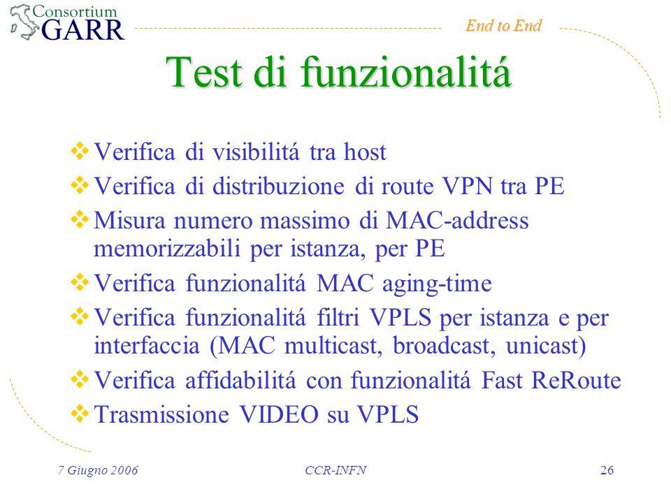 End to End 7 Giugno 2006CCR-INFN26 Test di funzionalitá Verifica di visibilitá tra host Verifica di distribuzione di route VPN tra PE Misura numero massimo di MAC-address memorizzabili per istanza, per PE Verifica funzionalitá MAC aging-time Verifica funzionalitá filtri VPLS per istanza e per interfaccia (MAC multicast, broadcast, unicast) Verifica affidabilitá con funzionalitá Fast ReRoute Trasmissione VIDEO su VPLS