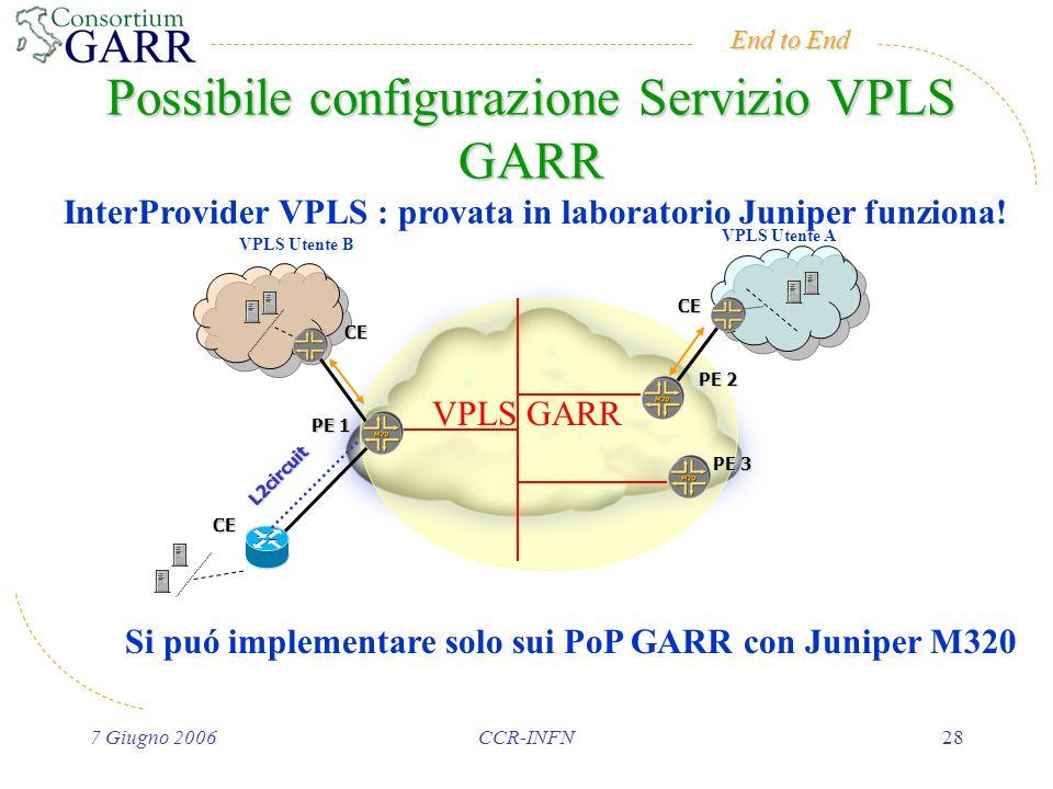 End to End 7 Giugno 2006CCR-INFN28 Possibile configurazione Servizio VPLS GARR PE 2 PE 1 CE PE 3 CE VPLS GARR CE L2circuit VPLS Utente A VPLS Utente B InterProvider VPLS : provata in laboratorio Juniper funziona.