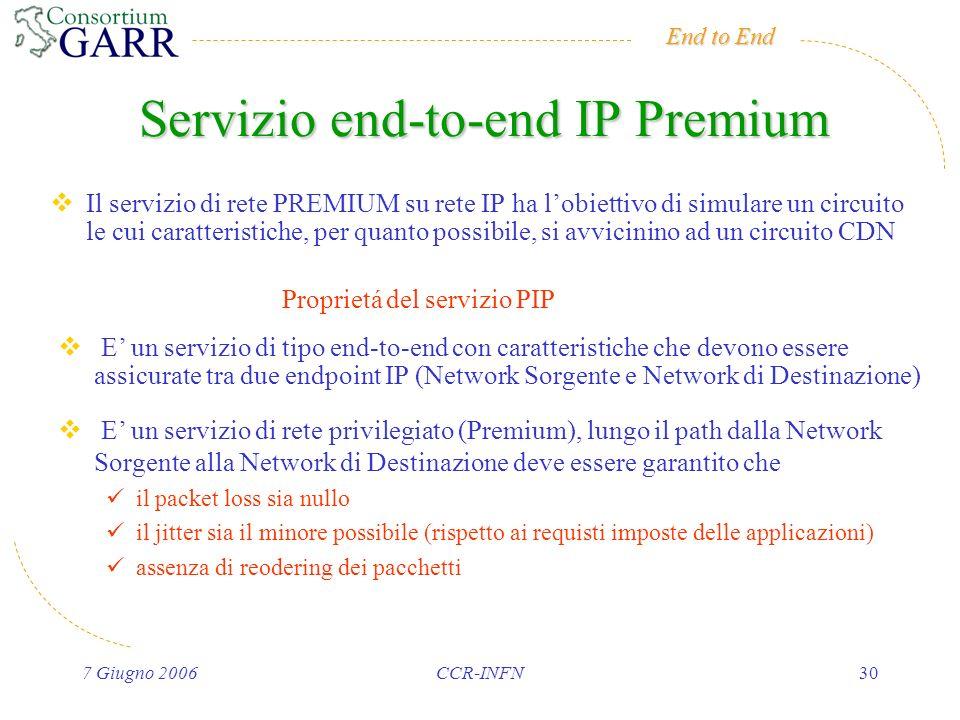 End to End 7 Giugno 2006CCR-INFN30 Servizio end-to-end IP Premium Il servizio di rete PREMIUM su rete IP ha lobiettivo di simulare un circuito le cui caratteristiche, per quanto possibile, si avvicinino ad un circuito CDN E un servizio di tipo end-to-end con caratteristiche che devono essere assicurate tra due endpoint IP (Network Sorgente e Network di Destinazione) E un servizio di rete privilegiato (Premium), lungo il path dalla Network Sorgente alla Network di Destinazione deve essere garantito che il packet loss sia nullo il jitter sia il minore possibile (rispetto ai requisti imposte delle applicazioni) assenza di reodering dei pacchetti Proprietá del servizio PIP