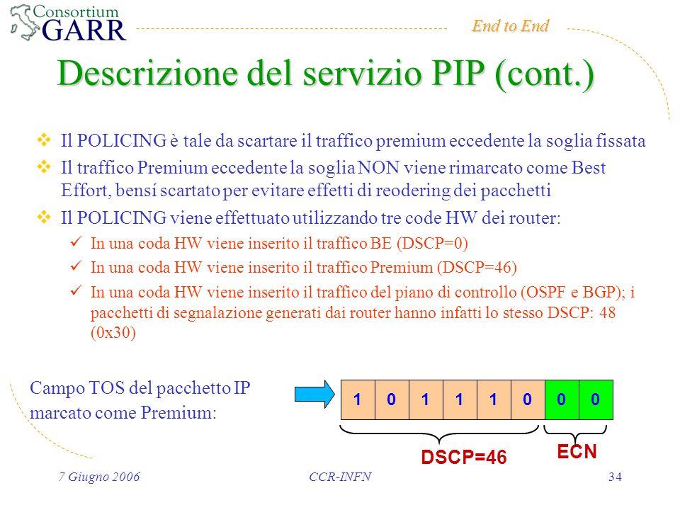 End to End 7 Giugno 2006CCR-INFN34 Il POLICING è tale da scartare il traffico premium eccedente la soglia fissata Il traffico Premium eccedente la soglia NON viene rimarcato come Best Effort, bensí scartato per evitare effetti di reodering dei pacchetti Il POLICING viene effettuato utilizzando tre code HW dei router: In una coda HW viene inserito il traffico BE (DSCP=0) In una coda HW viene inserito il traffico Premium (DSCP=46) In una coda HW viene inserito il traffico del piano di controllo (OSPF e BGP); i pacchetti di segnalazione generati dai router hanno infatti lo stesso DSCP: 48 (0x30) DSCP=46 ECN 10111000 Campo TOS del pacchetto IP marcato come Premium: Descrizione del servizio PIP (cont.)