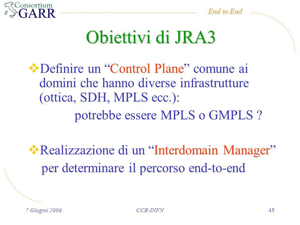 End to End 7 Giugno 2006CCR-INFN45 Obiettivi di JRA3 Definire un Control Plane comune ai domini che hanno diverse infrastrutture (ottica, SDH, MPLS ecc.): potrebbe essere MPLS o GMPLS .