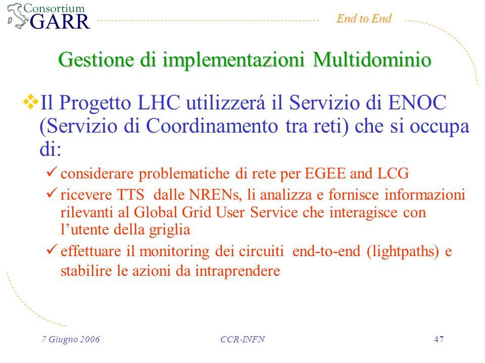 End to End 7 Giugno 2006CCR-INFN47 Il Progetto LHC utilizzerá il Servizio di ENOC (Servizio di Coordinamento tra reti) che si occupa di: considerare problematiche di rete per EGEE and LCG ricevere TTS dalle NRENs, li analizza e fornisce informazioni rilevanti al Global Grid User Service che interagisce con lutente della griglia effettuare il monitoring dei circuiti end-to-end (lightpaths) e stabilire le azioni da intraprendere Gestione di implementazioni Multidominio