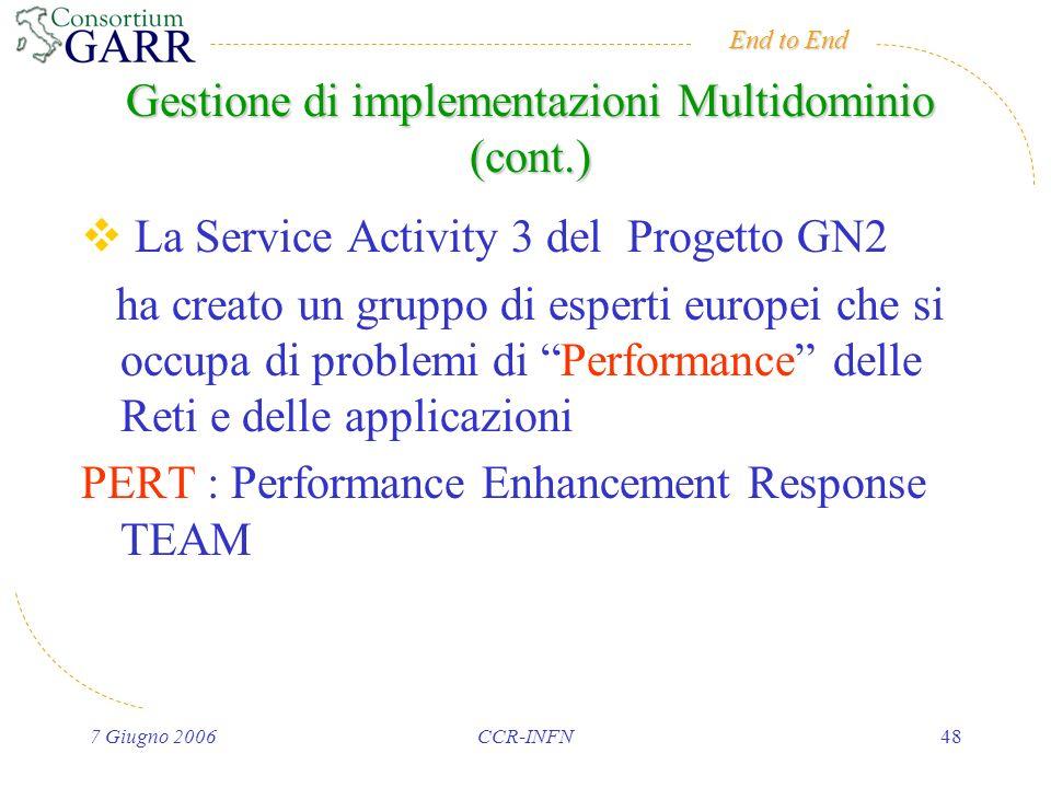 End to End 7 Giugno 2006CCR-INFN48 Gestione di implementazioni Multidominio (cont.) La Service Activity 3 del Progetto GN2 ha creato un gruppo di esperti europei che si occupa di problemi di Performance delle Reti e delle applicazioni PERT : Performance Enhancement Response TEAM