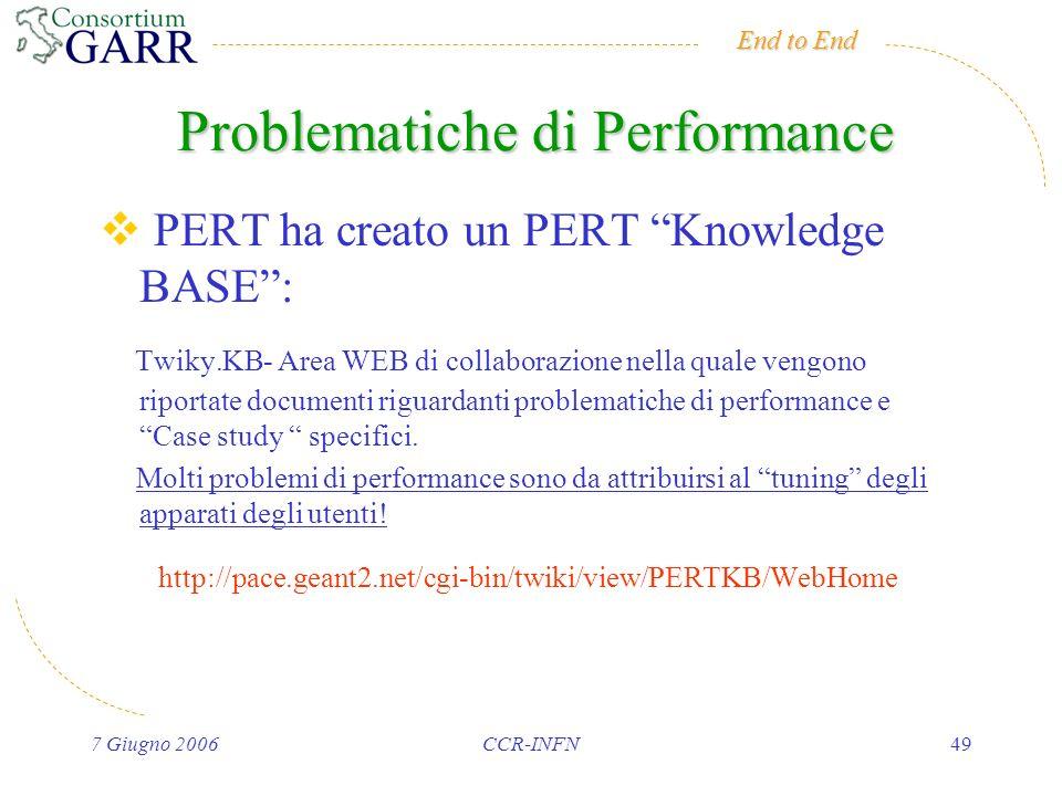End to End 7 Giugno 2006CCR-INFN49 Problematiche di Performance PERT ha creato un PERT Knowledge BASE: Twiky.KB- Area WEB di collaborazione nella quale vengono riportate documenti riguardanti problematiche di performance e Case study specifici.
