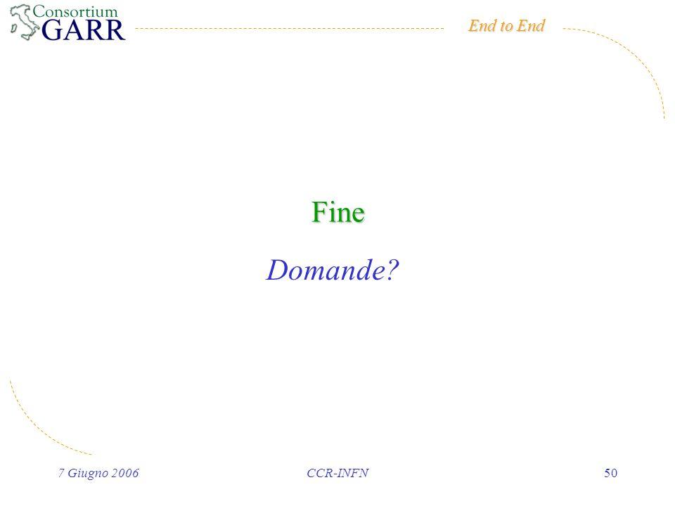End to End 7 Giugno 2006CCR-INFN50 Fine Domande