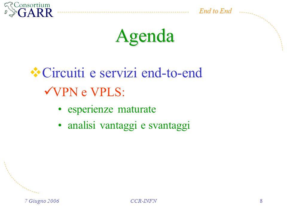 End to End 7 Giugno 2006CCR-INFN8 Agenda Circuiti e servizi end-to-end VPN e VPLS: esperienze maturate analisi vantaggi e svantaggi