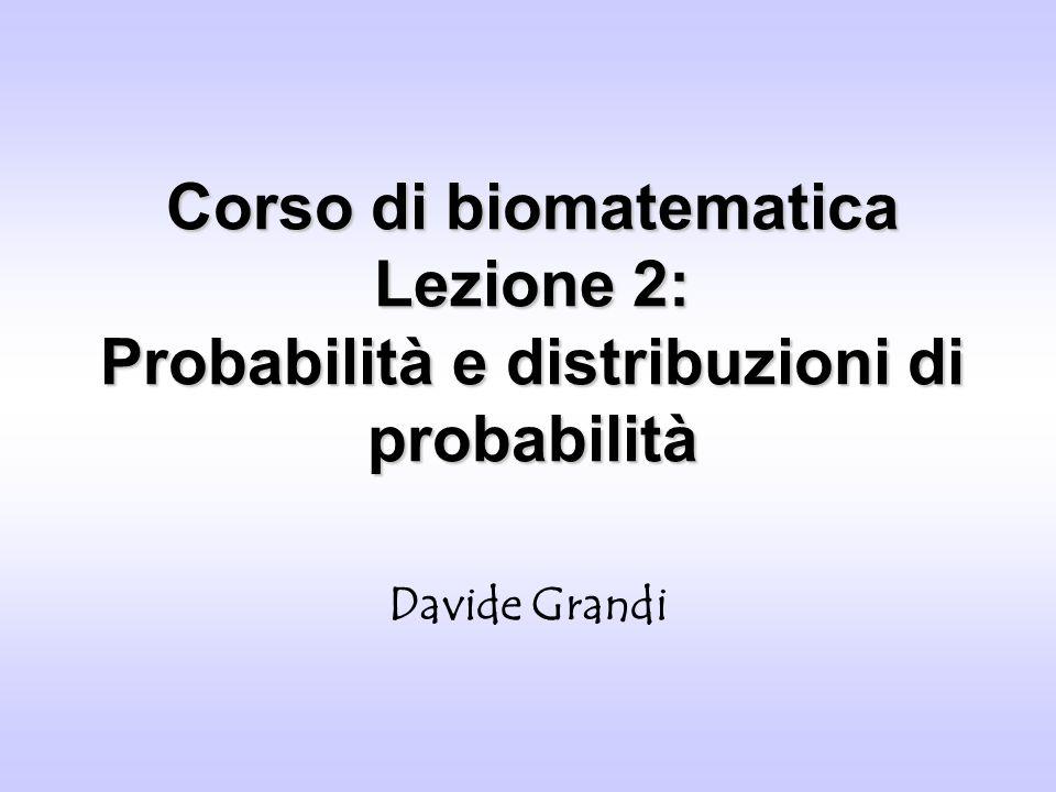 Distribuzioni discrete Davide Grandi - Dottorato in Biologia Distribuzione uniformeDistribuzione uniforme Un esempio tipico è il lancio di un dado (o di una moneta): i sei eventi possibili sono i sei punteggi, a ciascuno corrisponde il valore di probabilità Per il terzo assioma della probabilità: In generale avremo