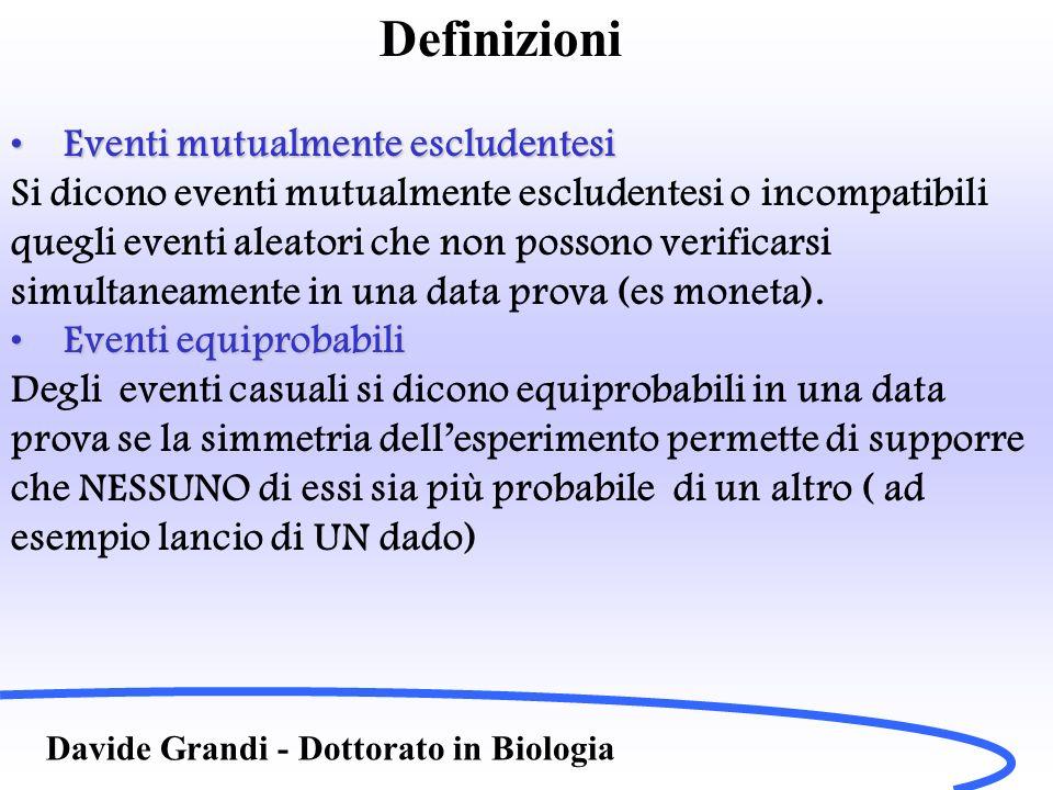 Definizioni Davide Grandi - Dottorato in Biologia Eventi mutualmente escludentesiEventi mutualmente escludentesi Si dicono eventi mutualmente escluden