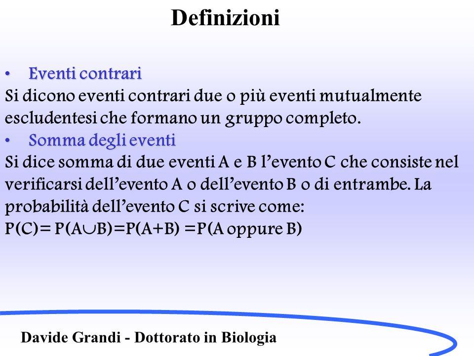 Definizioni Davide Grandi - Dottorato in Biologia Eventi contrariEventi contrari Si dicono eventi contrari due o più eventi mutualmente escludentesi c