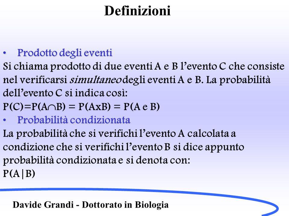 Definizioni Davide Grandi - Dottorato in Biologia Prodotto degli eventiProdotto degli eventi Si chiama prodotto di due eventi A e B levento C che cons