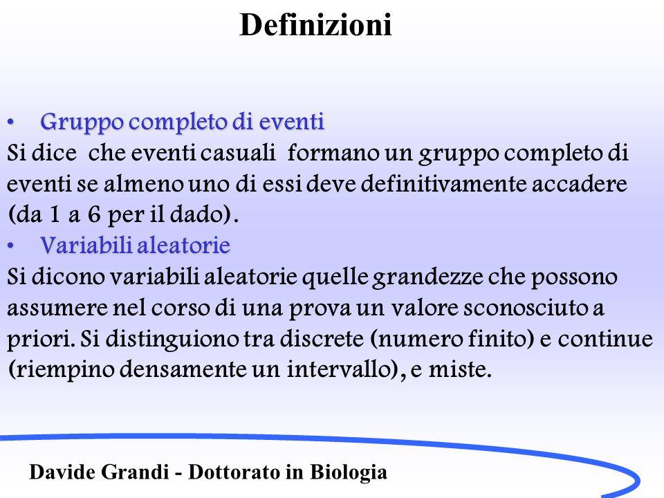 Definizioni Davide Grandi - Dottorato in Biologia Gruppo completo di eventiGruppo completo di eventi Si dice che eventi casuali formano un gruppo comp