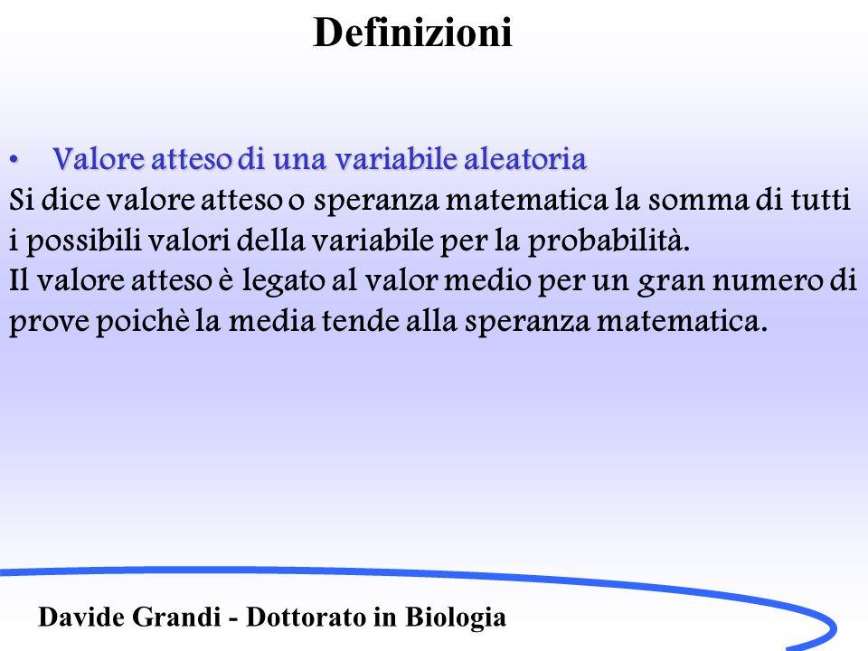 Definizioni Davide Grandi - Dottorato in Biologia Valore atteso di una variabile aleatoriaValore atteso di una variabile aleatoria Si dice valore atte