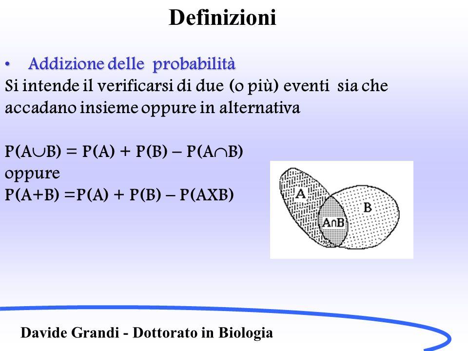 Definizioni Davide Grandi - Dottorato in Biologia Addizione delle probabilitàAddizione delle probabilità Si intende il verificarsi di due (o più) even