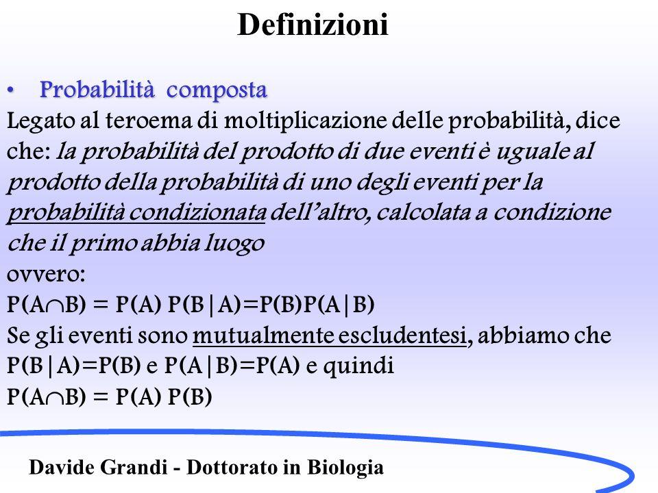 Definizioni Davide Grandi - Dottorato in Biologia Probabilità compostaProbabilità composta Legato al teroema di moltiplicazione delle probabilità, dic