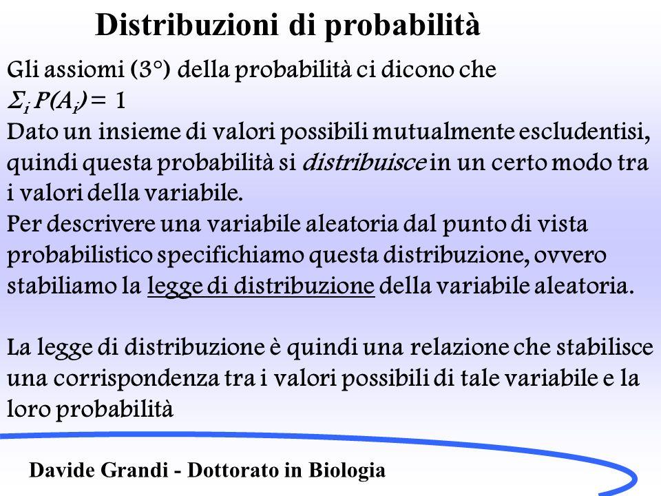 Distribuzioni di probabilità Davide Grandi - Dottorato in Biologia Gli assiomi (3°) della probabilità ci dicono che i P(A i ) = 1 Dato un insieme di v