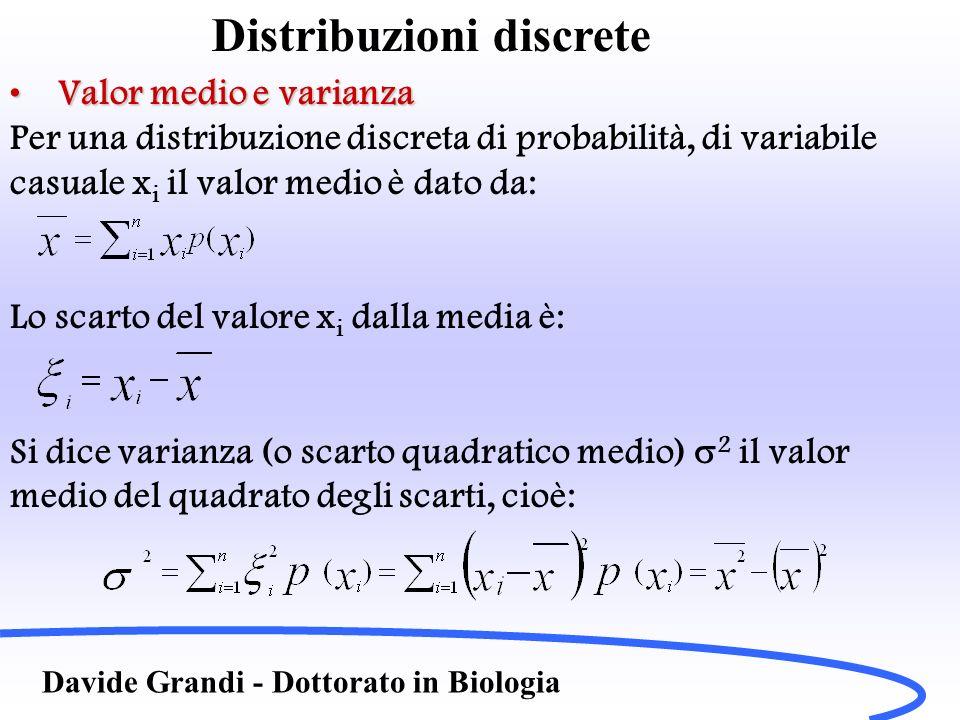 Distribuzioni discrete Davide Grandi - Dottorato in Biologia Valor medio e varianzaValor medio e varianza Per una distribuzione discreta di probabilit