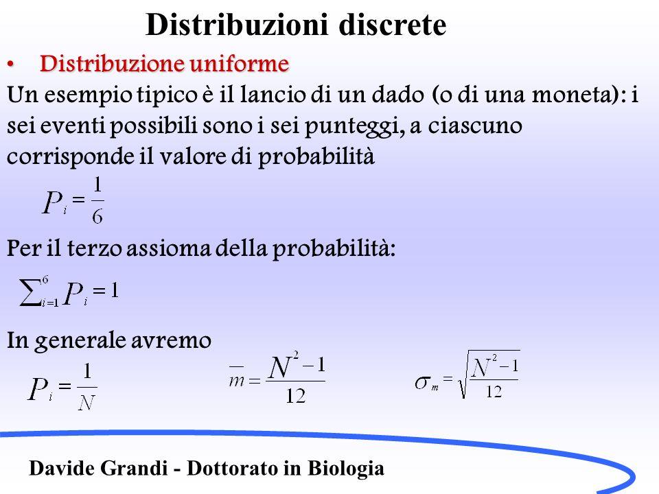 Distribuzioni discrete Davide Grandi - Dottorato in Biologia Distribuzione uniformeDistribuzione uniforme Un esempio tipico è il lancio di un dado (o