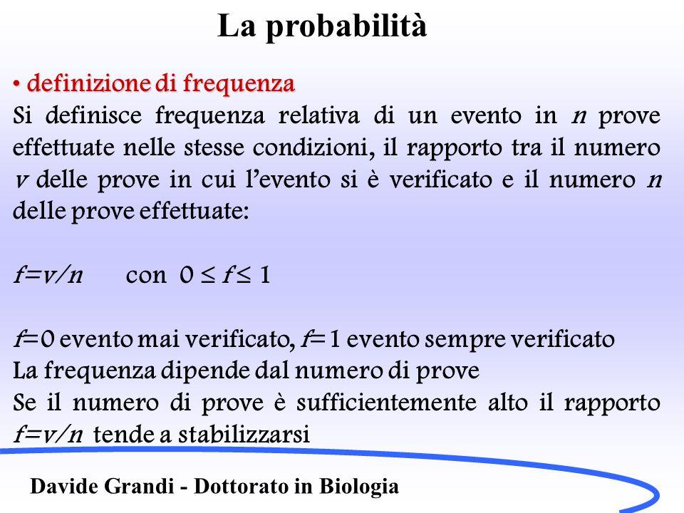 Definizioni Davide Grandi - Dottorato in Biologia Prodotto delle probabilitàProdotto delle probabilità Si intende il verificarsi simultaneamente di due eventi (esempio estrazione del due ed estrazione di picche da un mazzo di carte….