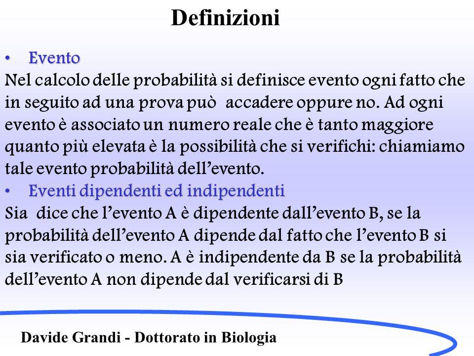 Definizioni Davide Grandi - Dottorato in Biologia EventoEvento Nel calcolo delle probabilità si definisce evento ogni fatto che in seguito ad una prov