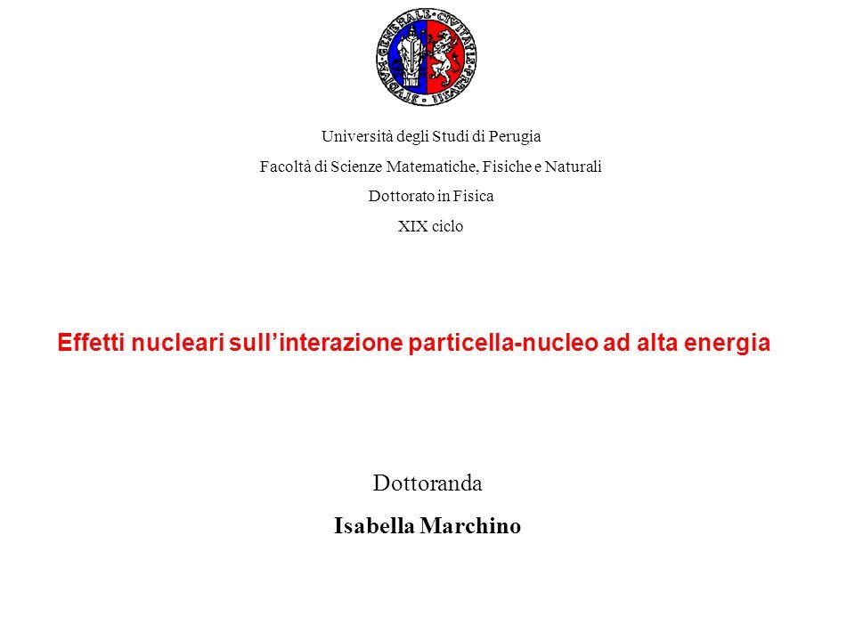 Nuclei come micro-rivelatori di effetti di QCD Esperimenti di alte energie ( DESY (HERMES), CERN, JLAB, FERMILAB) 1) Trasparenza di colore 2) Adronizzazione Trasparenza di colore Previsione della QCD: la configurazione a 3q ha dimensioni minori di quelle del nucleone e propagandosi nel mezzo interagisce debolmente rispetto a un nucleone Processo generale per cui un gran numero di adroni viene prodotto nelle interazioni ad alte energie.