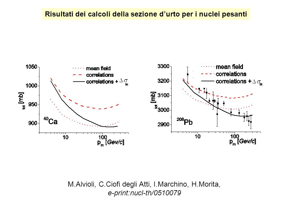 M.Alvioli, C.Ciofi degli Atti, I.Marchino, H.Morita, e-print:nucl-th/0510079 Risultati dei calcoli della sezione durto per i nuclei pesanti