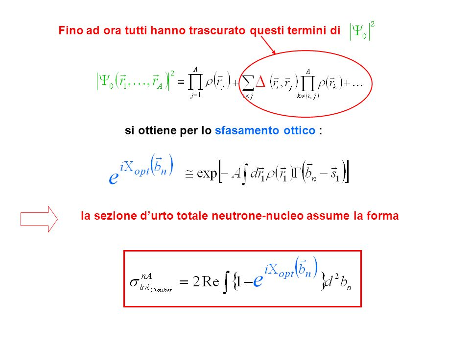 Fino ad ora tutti hanno trascurato questi termini di si ottiene per lo sfasamento ottico : la sezione durto totale neutrone-nucleo assume la forma