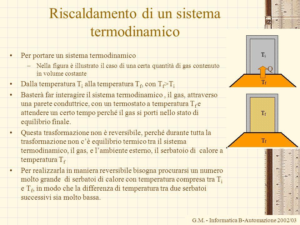 G.M. - Informatica B-Automazione 2002/03 Riscaldamento di un sistema termodinamico Per portare un sistema termodinamico –Nella figura è illustrato il