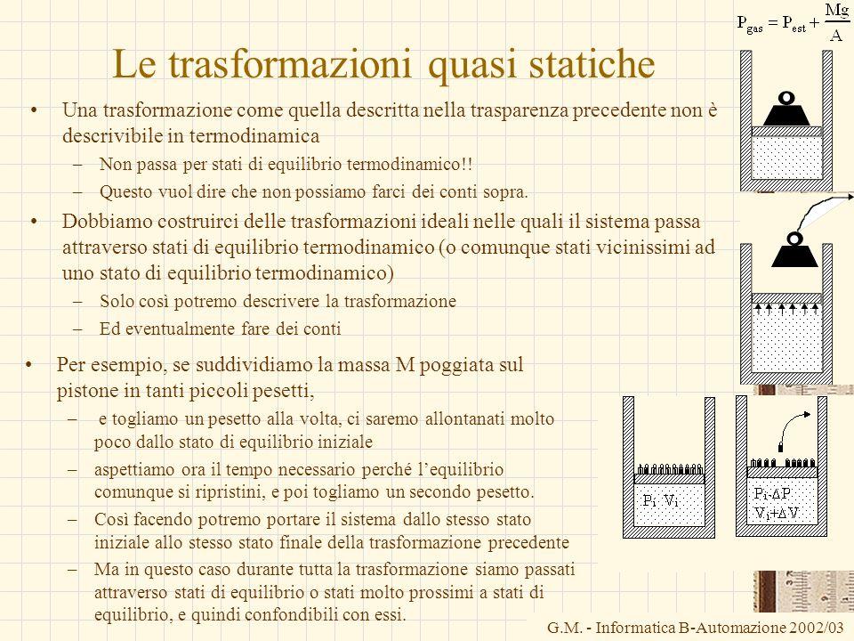 G.M. - Informatica B-Automazione 2002/03 Le trasformazioni quasi statiche Una trasformazione come quella descritta nella trasparenza precedente non è