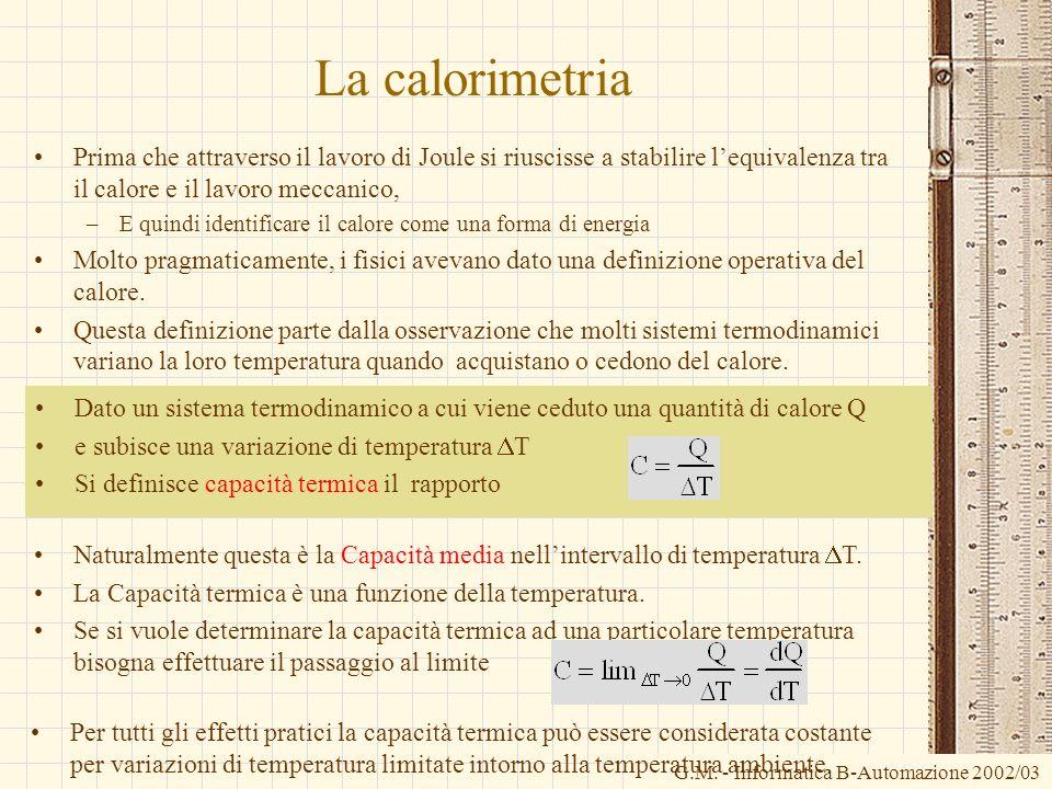 G.M. - Informatica B-Automazione 2002/03 Dato un sistema termodinamico a cui viene ceduto una quantità di calore Q e subisce una variazione di tempera