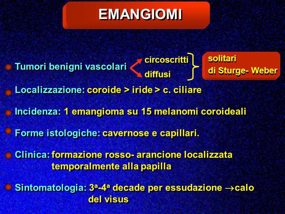 EMANGIOMI Tumori benigni vascolari solitari di Sturge- Weber circoscritti diffusi Localizzazione: coroide > iride > c. ciliare Incidenza: 1 emangioma
