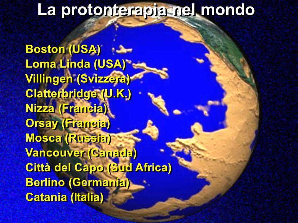 La protonterapia nel mondo Catania (Italia) Boston (USA) Loma Linda (USA) Villingen (Svizzera) Clatterbridge (U.K.) Nizza (Francia) Orsay (Francia) Mo