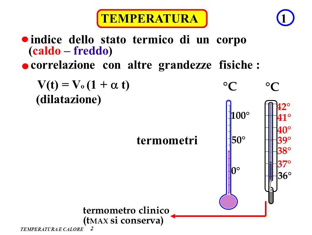 TEMPERATURA 2 1 indice dello stato termico di un corpo (caldo – freddo) correlazione con altre grandezze fisiche : (dilatazione) V(t) = V o (1 + t) te