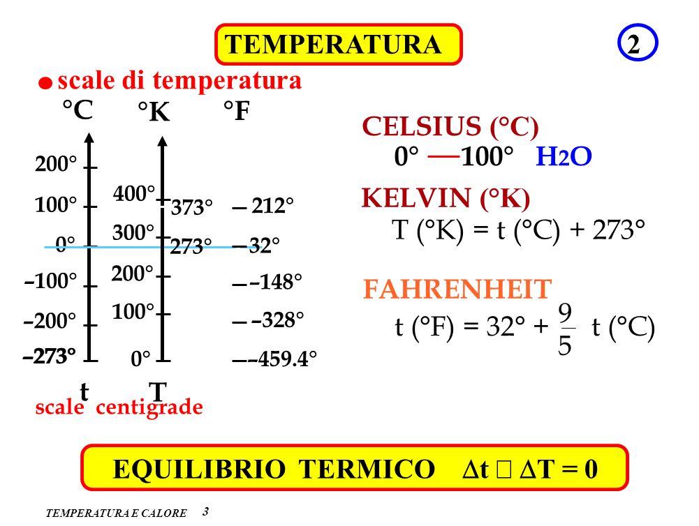 TEMPERATURA E CALORE 3 TEMPERATURA2 scale di temperatura CELSIUS (°C) 0° 100° H 2 O –273° –200° –100° 100° 200° °C t 0° KELVIN (°K) 0° 100° 200° 300°