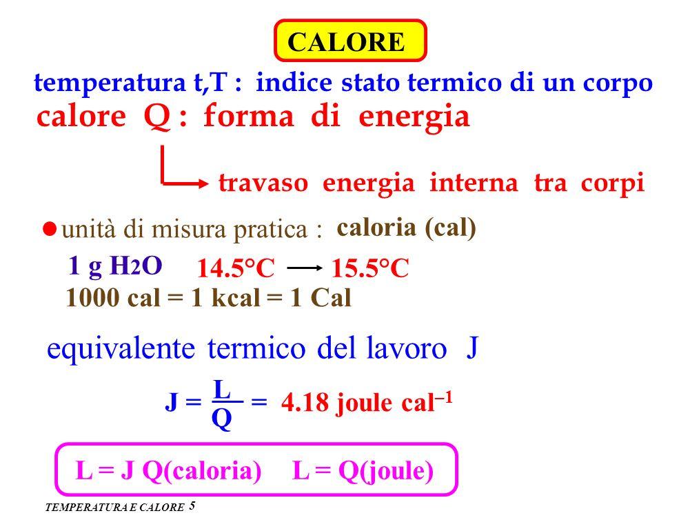 TEMPERATURA E CALORE CALORE 5 temperatura t,T : indice stato termico di un corpo calore Q : forma di energia travaso energia interna tra corpi unità d